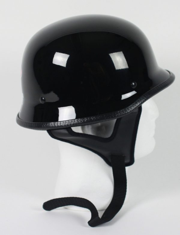103G - DOT GERMAN GLOSS/FLAT BLACK MOTORCYCLE HELMET